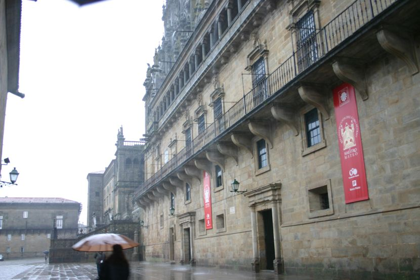 Spain.Santiago.de.Compostela.Obradoiro.Lloviendo