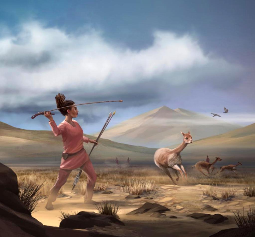 Ilustración de una cazadora que representa a los cazadores que pudieron haber aparecido en los Andes hace 9.000 años. — Matthew Verdolivo / UC DAVIS